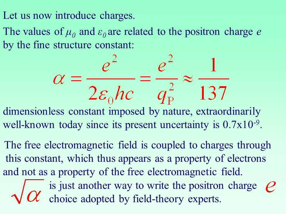 Let us now introduce charges. dimensionless constant imposed by nature, extraordinarily well-known today since its present uncertainty is 0.7x10 -9. T