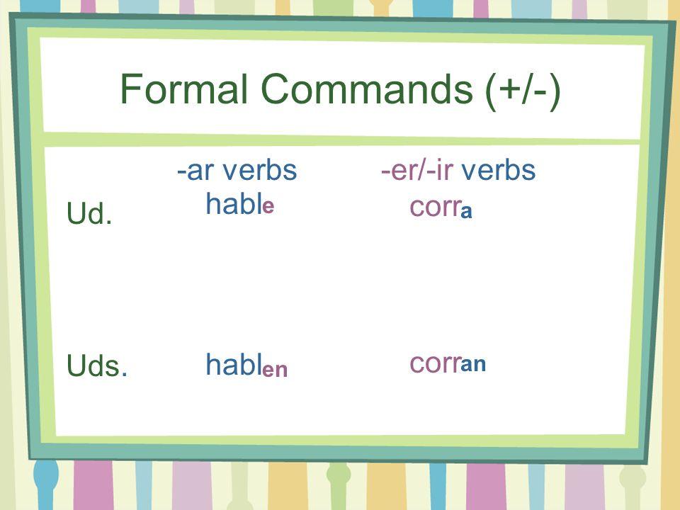 Formal Commands (+/-) -ar verbs-er/-ir verbs Ud. Uds. e a en an habl corr