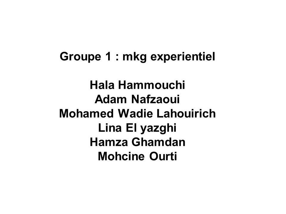 Groupe 1 : mkg experientiel Hala Hammouchi Adam Nafzaoui Mohamed Wadie Lahouirich Lina El yazghi Hamza Ghamdan Mohcine Ourti