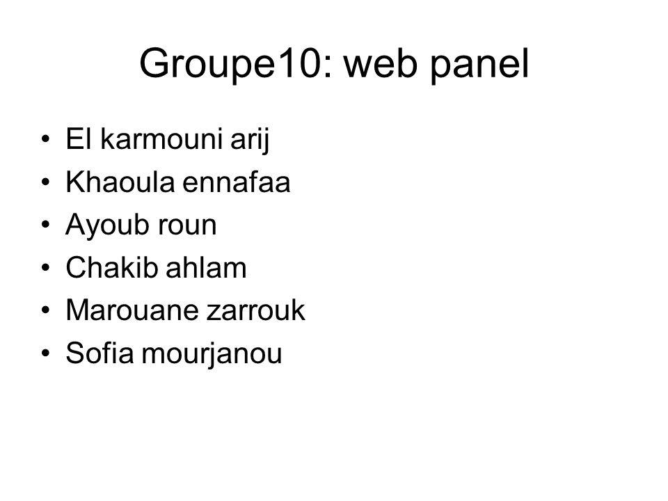 Groupe10: web panel El karmouni arij Khaoula ennafaa Ayoub roun Chakib ahlam Marouane zarrouk Sofia mourjanou