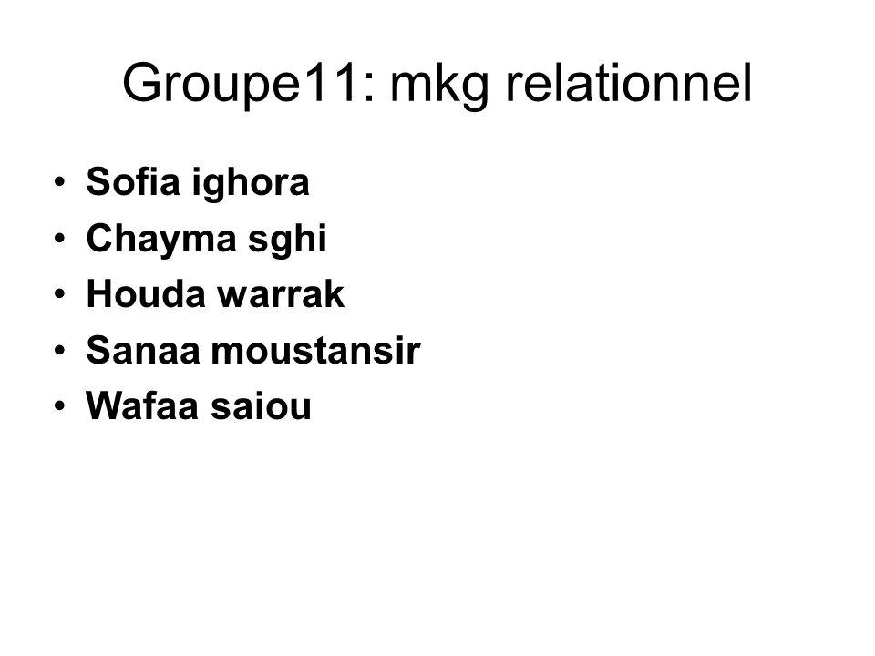 Groupe11: mkg relationnel Sofia ighora Chayma sghi Houda warrak Sanaa moustansir Wafaa saiou