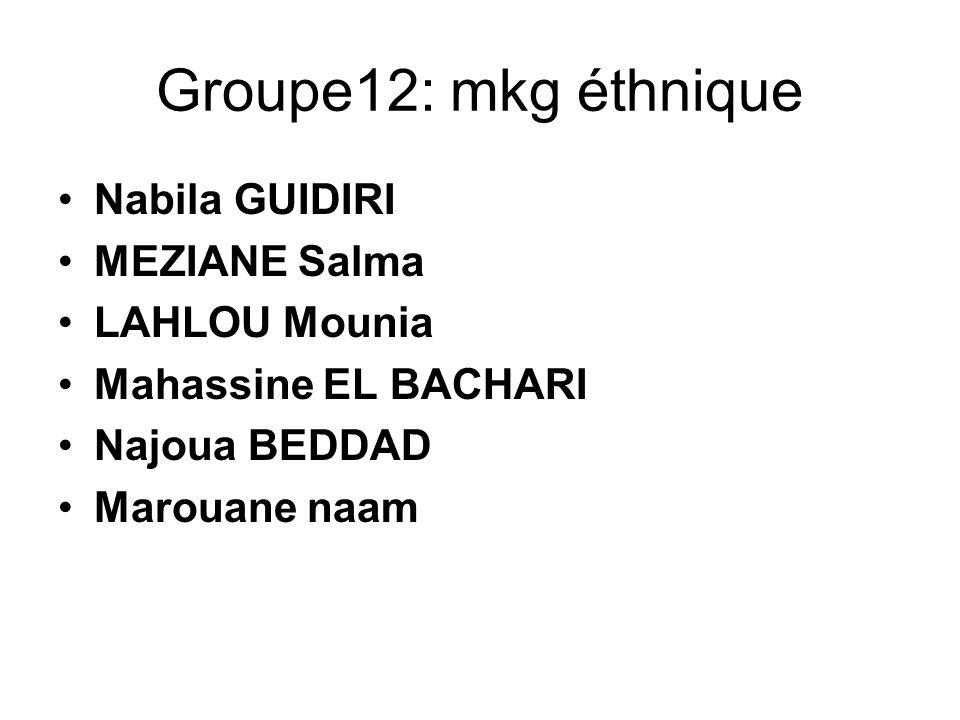 Groupe12: mkg éthnique Nabila GUIDIRI MEZIANE Salma LAHLOU Mounia Mahassine EL BACHARI Najoua BEDDAD Marouane naam