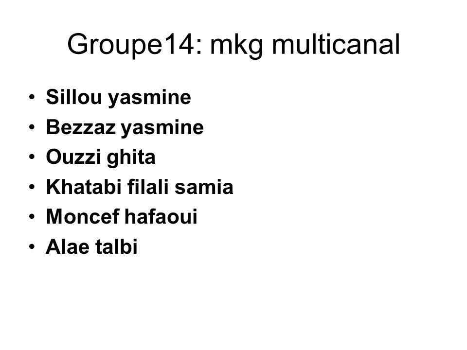 Groupe14: mkg multicanal Sillou yasmine Bezzaz yasmine Ouzzi ghita Khatabi filali samia Moncef hafaoui Alae talbi
