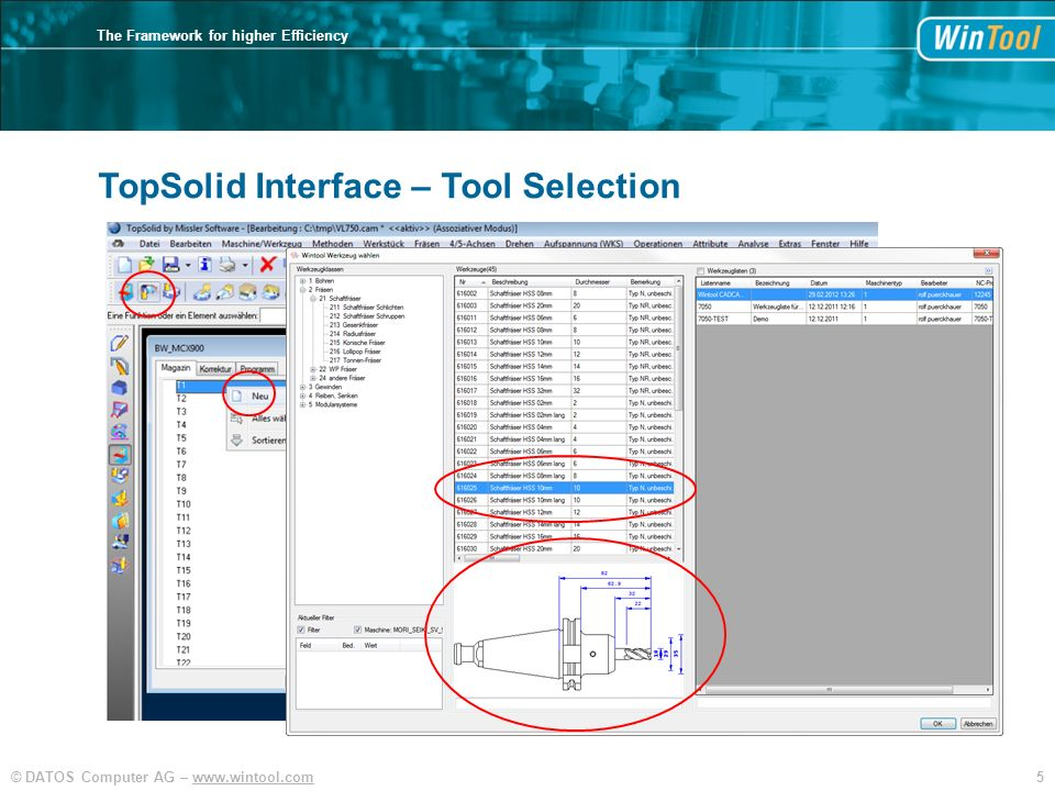5© DATOS Computer AG – www.wintool.com The Framework for higher Efficiency TopSolid TopSolid Interface – Tool Selection