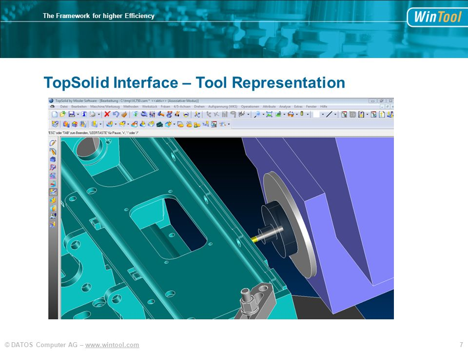 7© DATOS Computer AG – www.wintool.com The Framework for higher Efficiency TopSolid Interface – Tool Representation