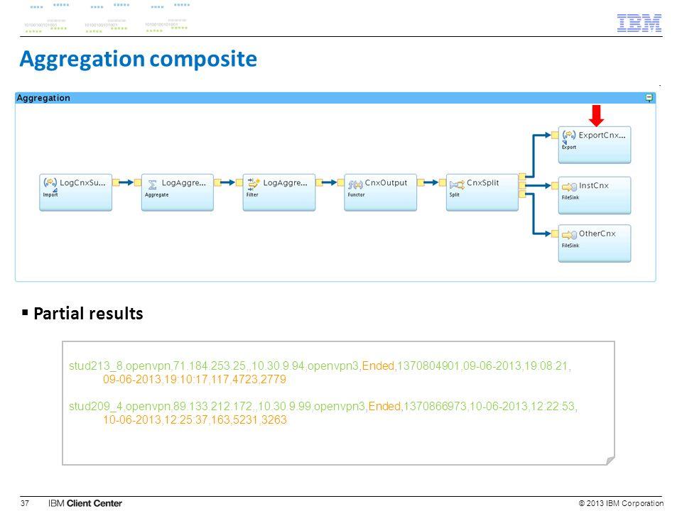 © 2013 IBM Corporation37 stud213_8,openvpn,71.184.253.25,,10.30.9.94,openvpn3,Ended,1370804901,09-06-2013,19:08:21, 09-06-2013,19:10:17,117,4723,2779