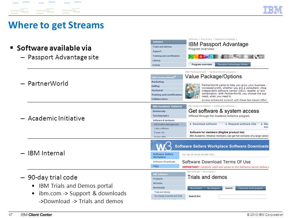 Where to get Streams Software available via – Passport Advantage site – PartnerWorld – Academic Initiative – IBM Internal – 90-day trial code IBM Tria