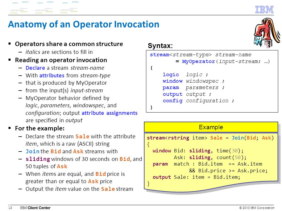 Anatomy of an Operator Invocation Operators share a common structure – italics are sections to fill in Reading an operator invocation – Declare a stre