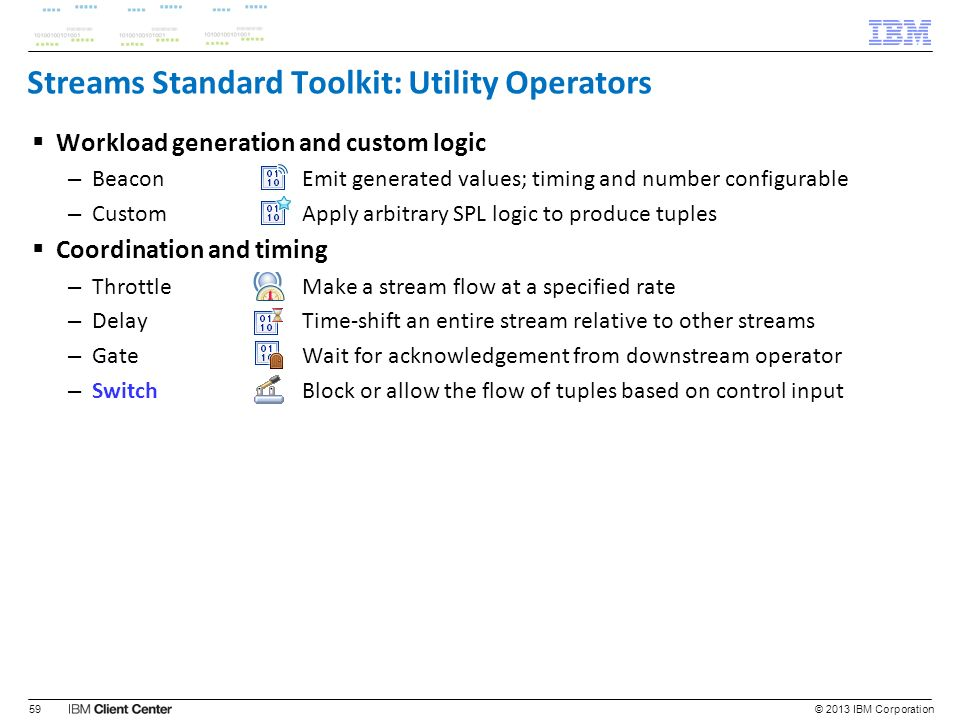 Streams Standard Toolkit: Utility Operators Workload generation and custom logic – BeaconEmit generated values; timing and number configurable – Custo