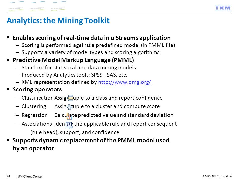 Analytics: the Mining Toolkit Enables scoring of real-time data in a Streams application – Scoring is performed against a predefined model (in PMML fi
