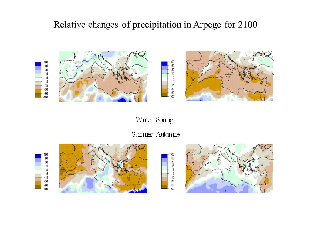 Relative changes of precipitation in Arpege for 2100