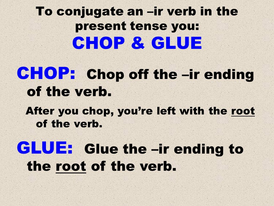 To conjugate an –ir verb in the present tense you: CHOP & GLUE CHOP: Chop off the –ir ending of the verb. After you chop, youre left with the root of