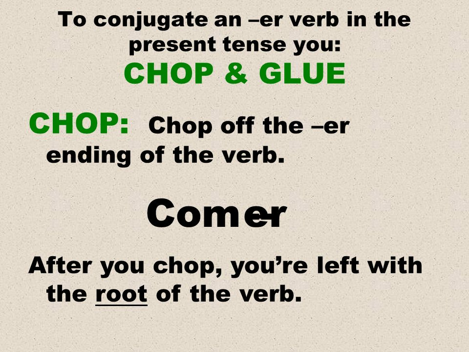 To conjugate an –er verb in the present tense you: CHOP & GLUE CHOP: Chop off the –er ending of the verb. Com er -- After you chop, youre left with th