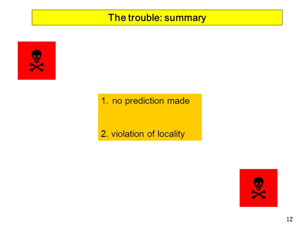 12 The trouble: summary 1.no prediction made 2. violation of locality