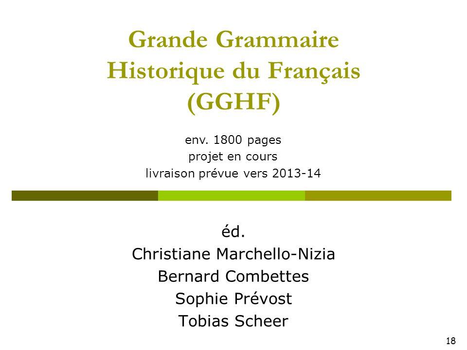 18 Grande Grammaire Historique du Français (GGHF) éd. Christiane Marchello-Nizia Bernard Combettes Sophie Prévost Tobias Scheer env. 1800 pages projet