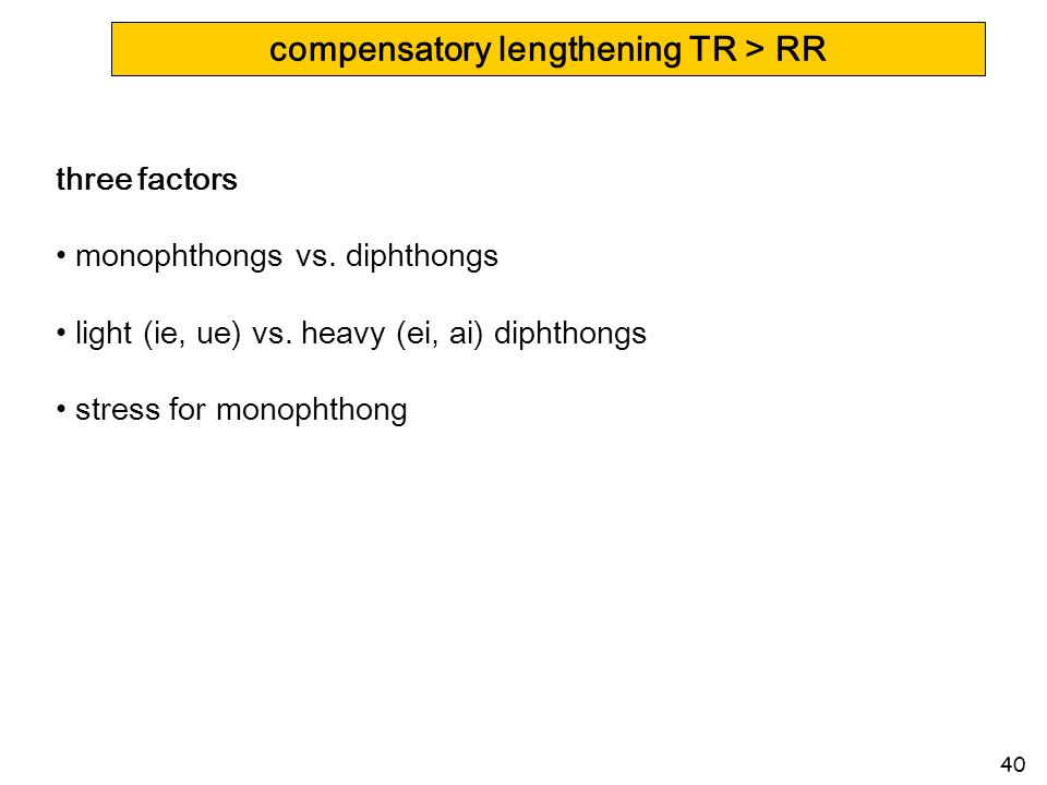 40 compensatory lengthening TR > RR three factors monophthongs vs. diphthongs light (ie, ue) vs. heavy (ei, ai) diphthongs stress for monophthong