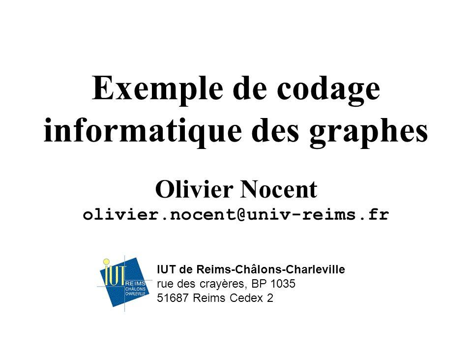 IUT de Reims-Châlons-Charleville rue des crayères, BP 1035 51687 Reims Cedex 2 Exemple de codage informatique des graphes Olivier Nocent olivier.nocent@univ-reims.fr