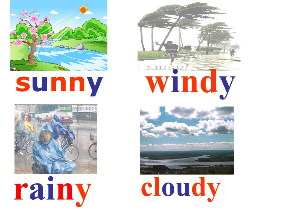 questions spring? summer? Whats the weather like in autumn ? winter? windy Its rainy sunny cold