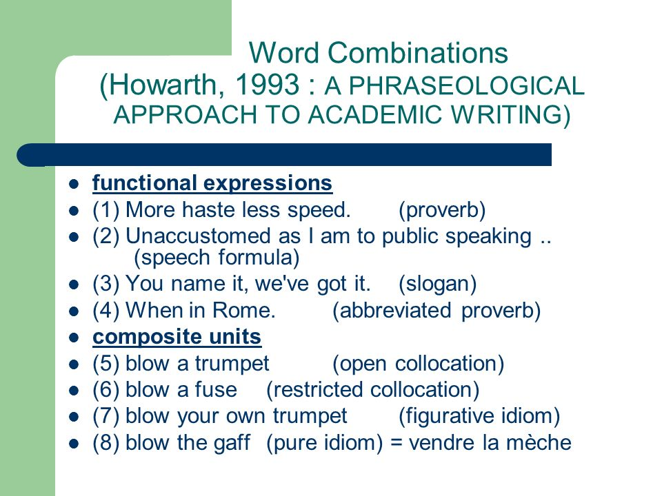 Word Combinations (Howarth, 1993 : A PHRASEOLOGICAL APPROACH TO ACADEMIC WRITING) functional expressions (1) More haste less speed.(proverb) (2) Unacc