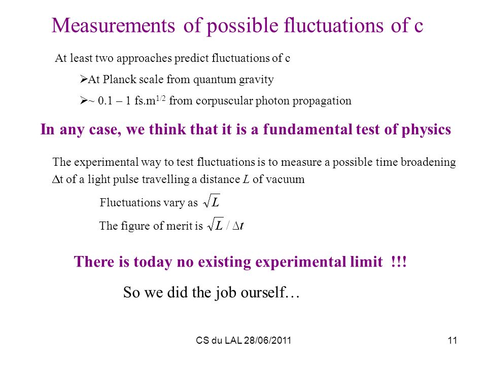 CS du LAL 28/06/201111 At least two approaches predict fluctuations of c At Planck scale from quantum gravity ~ 0.1 – 1 fs.m 1/2 from corpuscular phot