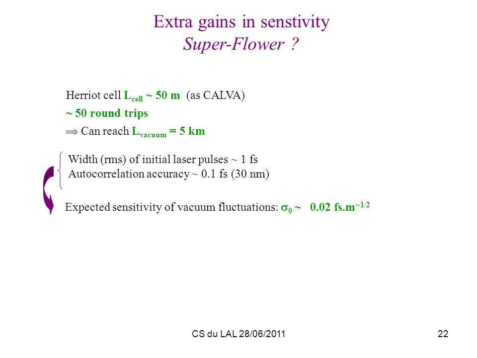 CS du LAL 28/06/201122 Extra gains in senstivity Super-Flower ? Herriot cell L cell ~ 50 m (as CALVA) ~ 50 round trips Can reach L vacuum = 5 km Expec