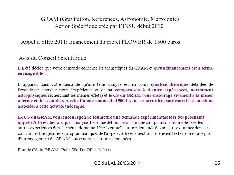 CS du LAL 28/06/201125 Il a été décidé que votre demande concerne les thématiques du GRAM et qu'un financement est a terme envisageable Il apparait da