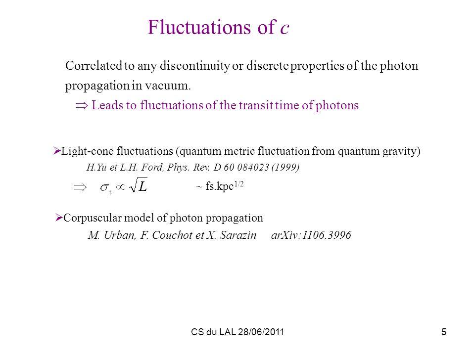 CS du LAL 28/06/20115 Light-cone fluctuations (quantum metric fluctuation from quantum gravity) H.Yu et L.H. Ford, Phys. Rev. D 60 084023 (1999) Corre