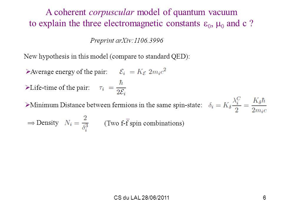 CS du LAL 28/06/20116 A coherent corpuscular model of quantum vacuum to explain the three electromagnetic constants 0, 0 and c ? Preprint arXiv:1106.3
