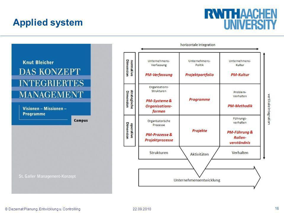 © Dezernat Planung, Entwicklung u. Controlling 22.09.2010 Applied system 16
