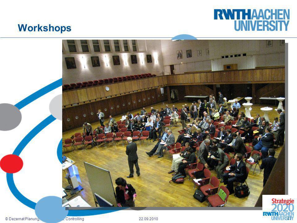 © Dezernat Planung, Entwicklung u. Controlling 22.09.2010 Workshops 23