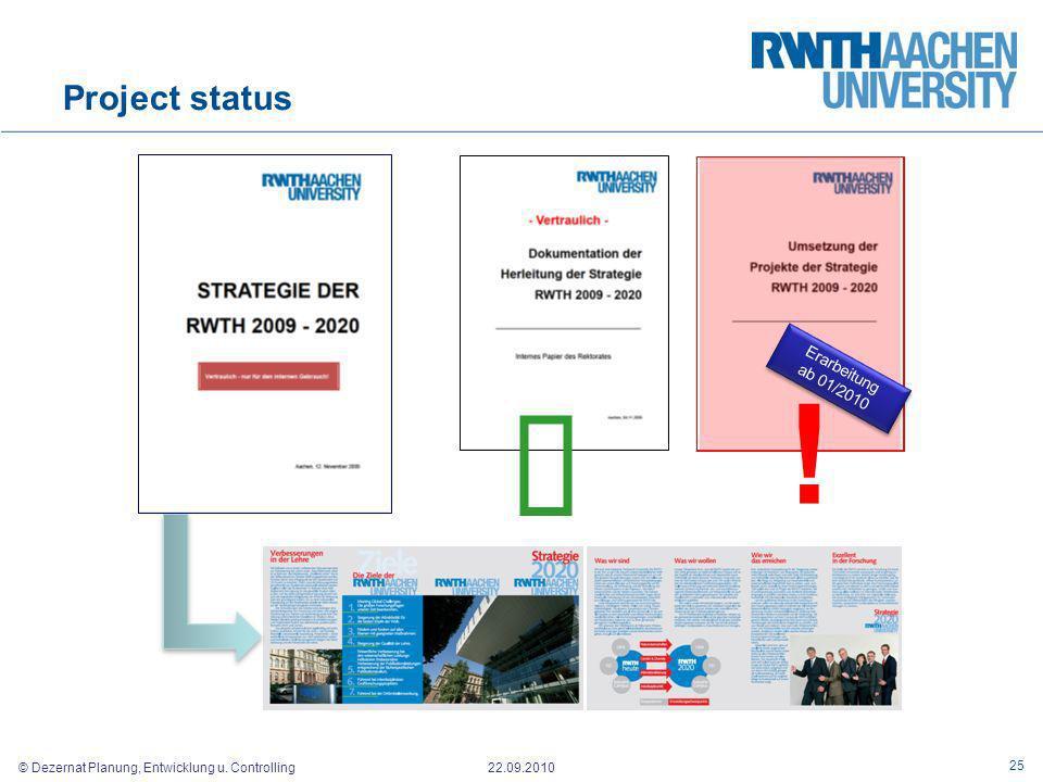 © Dezernat Planung, Entwicklung u. Controlling 22.09.2010 Project status 25 ! Erarbeitung ab 01/2010 Erarbeitung ab 01/2010