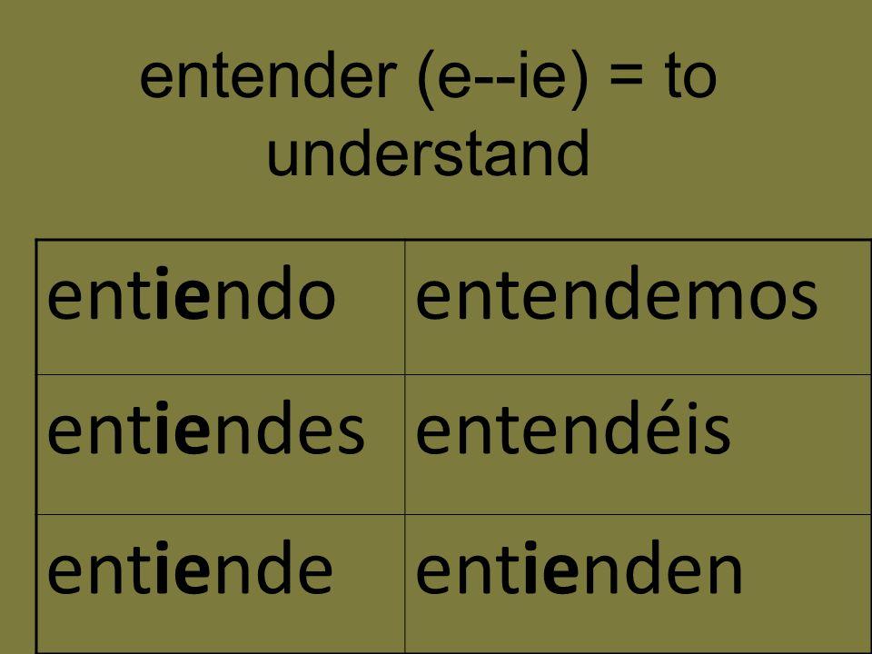 entiendoentendemos entiendesentendéis entiendeentienden entender (e--ie) = to understand