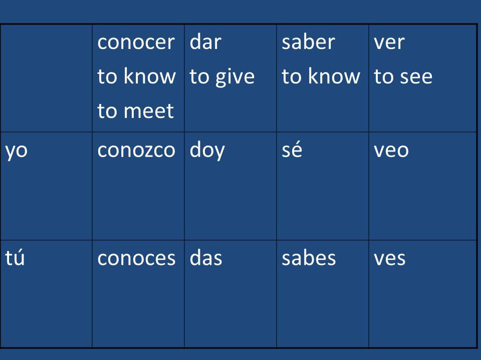 conocer to know to meet dar to give saber to know ver to see yoconozcodoyséveo túconocesdassabesves
