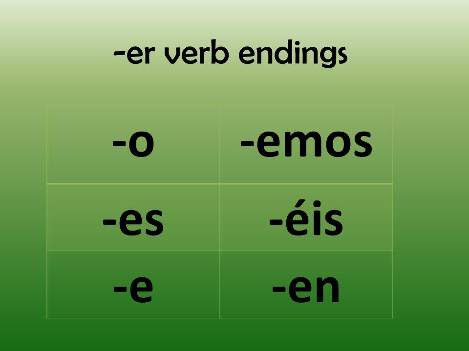 -er verb endings -o-emos -es-éis -e-en