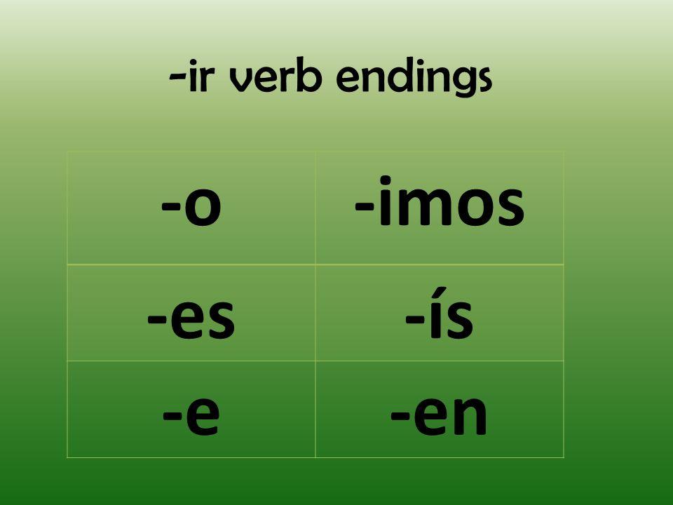 -ir verb endings -o-imos -es-ís -e-en