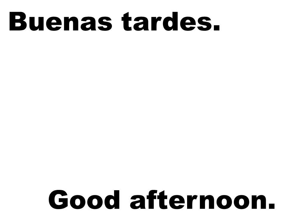 Buenas tardes. Good afternoon.