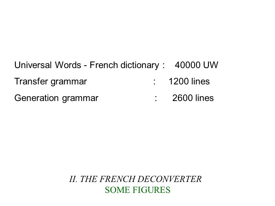 II. THE FRENCH DECONVERTER SOME FIGURES Universal Words - French dictionary : 40000 UW Transfer grammar : 1200 lines Generation grammar : 2600 lines