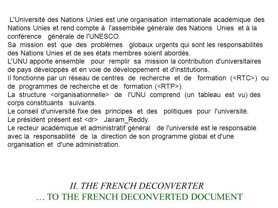 L'Université des Nations Unies est une organisation internationale académique des Nations Unies et rend compte à l'assemblée générale des Nations Unie