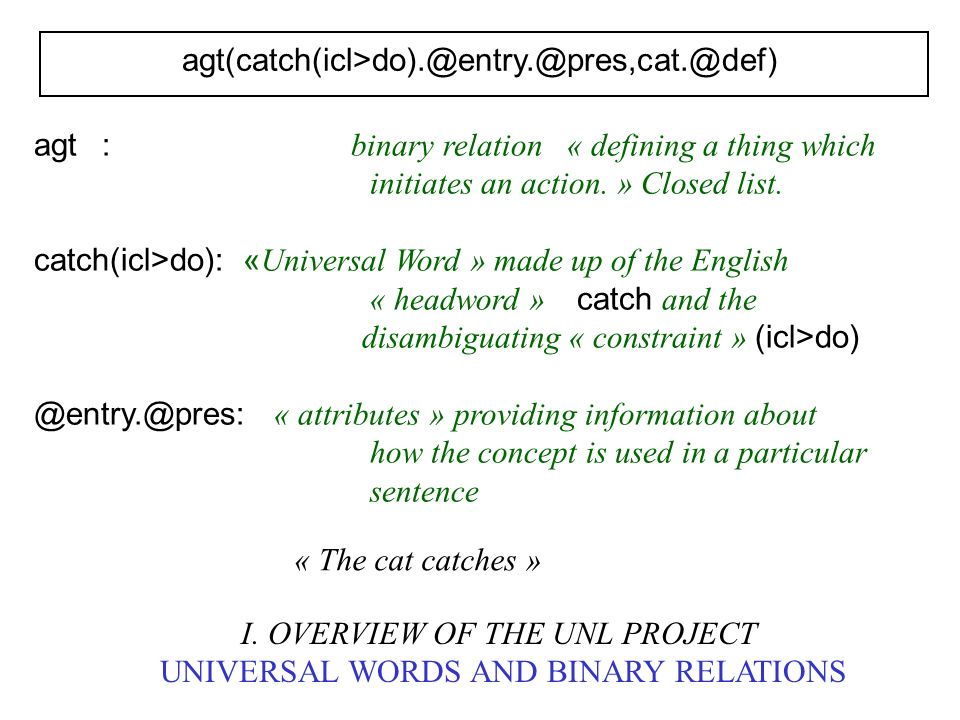 agt(catch(icl>do).@entry.@pres,cat.@def) I. OVERVIEW OF THE UNL PROJECT UNIVERSAL WORDS AND BINARY RELATIONS agt : binary relation « defining a thing