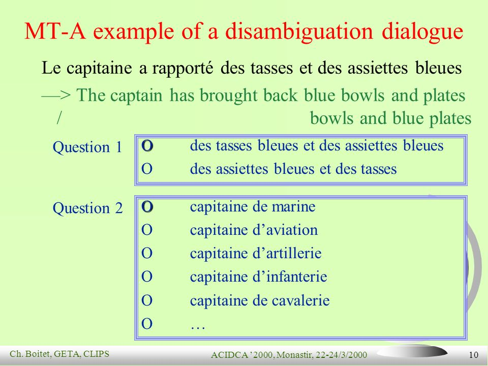 Ch. Boitet, GETA, CLIPS ACIDCA 2000, Monastir, 22-24/3/2000 10 MT-A example of a disambiguation dialogue Le capitaine a rapporté des tasses et des ass