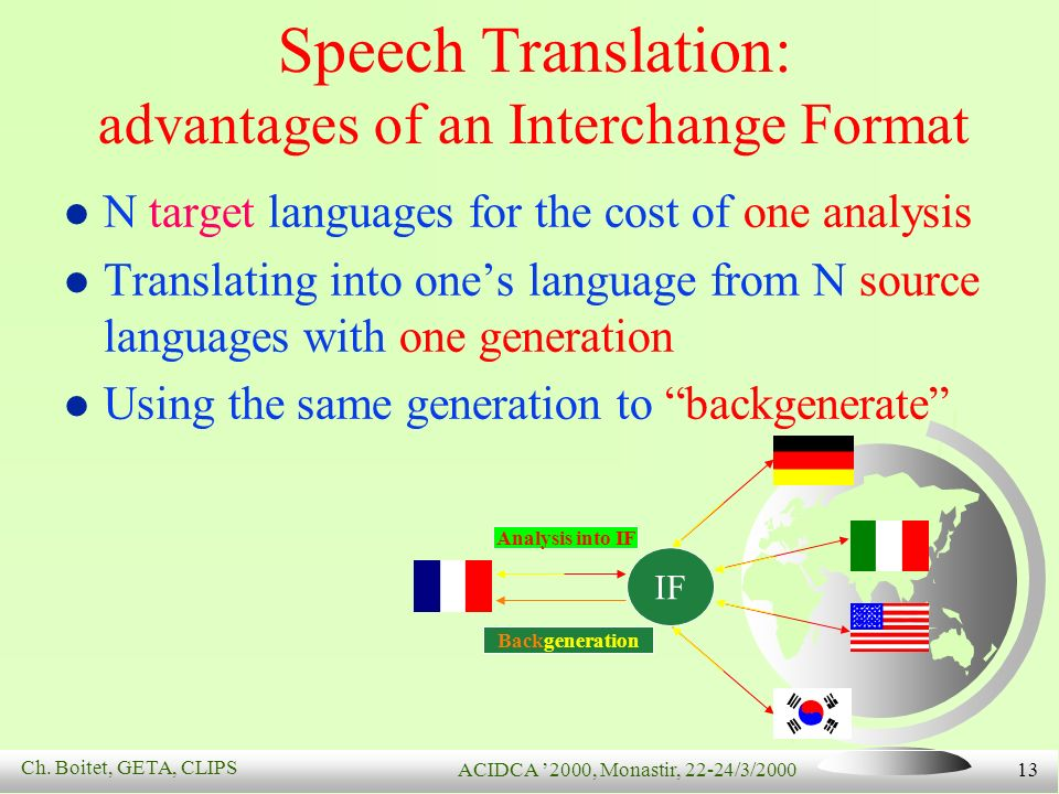 Ch. Boitet, GETA, CLIPS ACIDCA 2000, Monastir, 22-24/3/2000 13 Speech Translation: advantages of an Interchange Format N target languages for the cost
