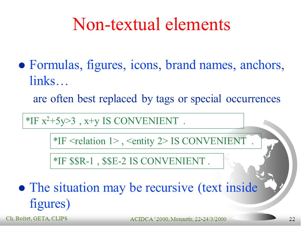 Ch. Boitet, GETA, CLIPS ACIDCA 2000, Monastir, 22-24/3/2000 22 Non-textual elements Formulas, figures, icons, brand names, anchors, links… are often b
