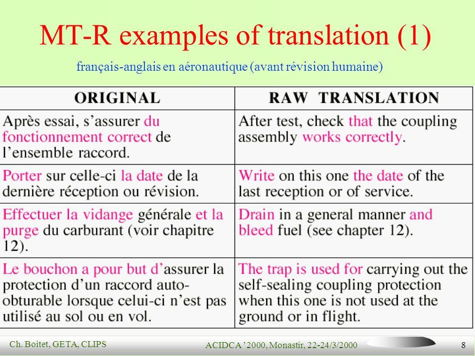 Ch. Boitet, GETA, CLIPS ACIDCA 2000, Monastir, 22-24/3/2000 8 MT-R examples of translation (1) français-anglais en aéronautique (avant révision humain