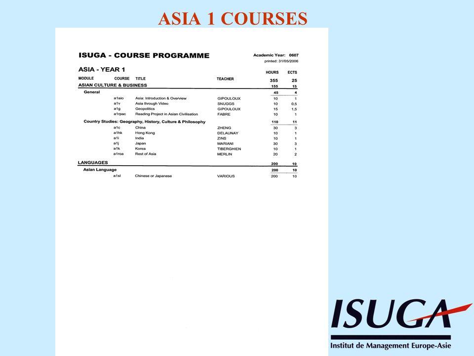 ASIA 1 COURSES
