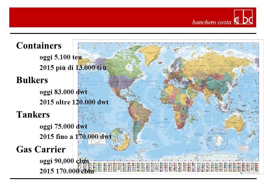 banchero costa Containers oggi 5.100 teu 2015 più di 13.000 teu Bulkers oggi 83.000 dwt 2015 oltre 120.000 dwt Tankers oggi 75.000 dwt 2015 fino a 170.000 dwt Gas Carrier oggi 90,000 cbm 2015 170.000 cbm