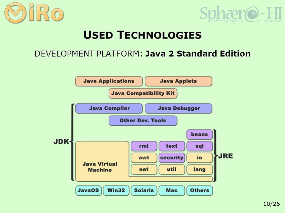 10/26 DEVELOPMENT PLATFORM: Java 2 Standard Edition U SED T ECHNOLOGIES