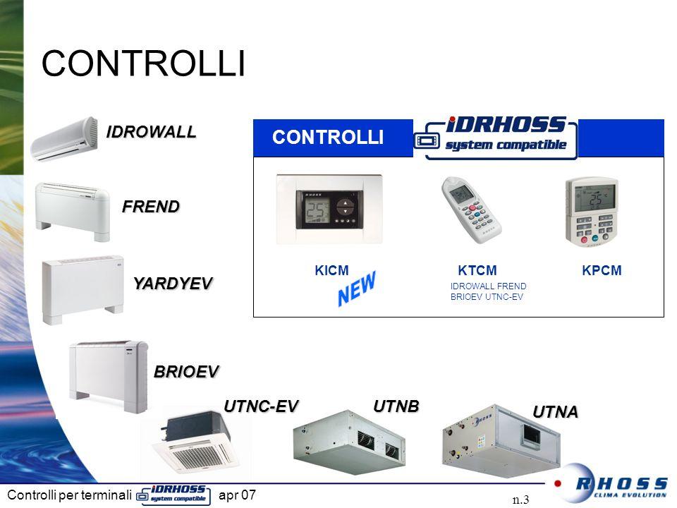 Controlli per terminali apr 07 n.3 IDROWALLIDROWALL FRENDFREND UTNBUTNB CONTROLLI UTNAUTNA YARDYEVYARDYEV BRIOEVBRIOEV UTNC-EVUTNC-EV IDROWALL FREND B