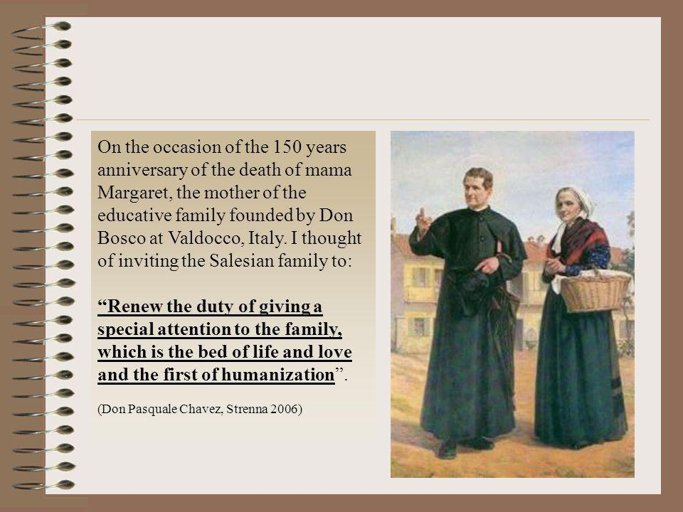 On the occasion of the 150 years anniversary of the death of mama Margaret, the mother of the educative family founded by Don Bosco at Valdocco, Italy