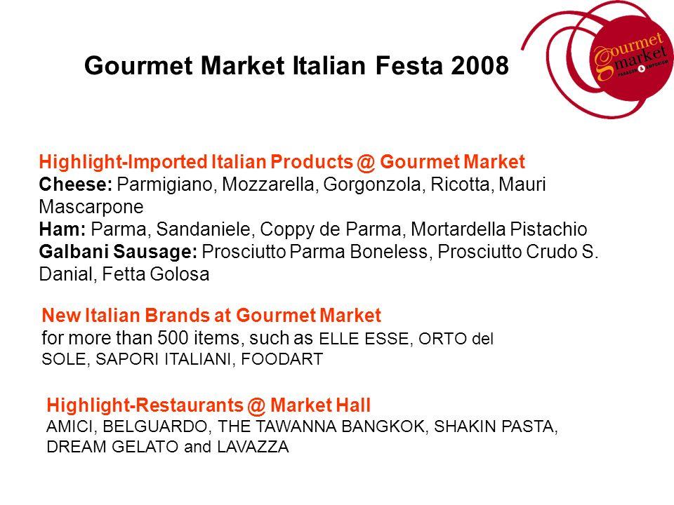 Gourmet Market Italian Festa 2008 Highlight-Imported Italian Products @ Gourmet Market Cheese: Parmigiano, Mozzarella, Gorgonzola, Ricotta, Mauri Masc
