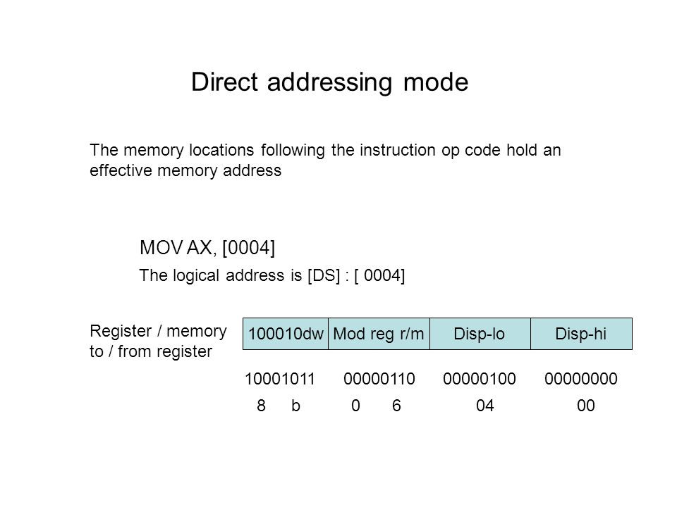 Direct addressing mode The memory locations following the instruction op code hold an effective memory address MOV AX, [0004] Register / memory to / f